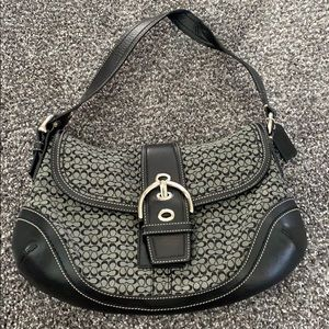 C covered black and grey Coach purse
